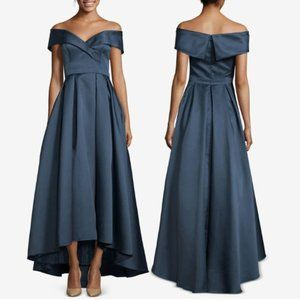 Xscape Navy Off The Shoulder Formal Ball Gown